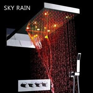 Настенный душевой набор для душа с изображением неба и дождя, 22 дюйма, светодиодный душевой набор с водопадом, термостатический смеситель д...