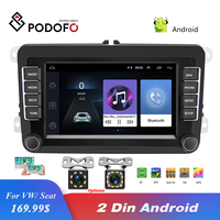 Podofo Radio 2 Din 7 Android Car Multimedia Player Car Stereo WIFI GPS Navigation Autoradio For Skoda VW Passat B6 Polo Golf
