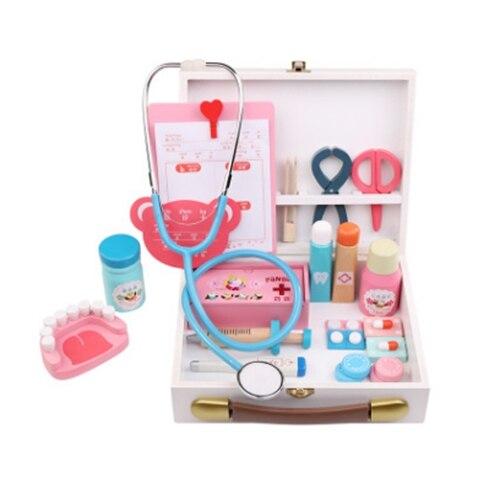 Enfants en bois tout le monde fait semblant de jouer docteur jouet garçons fille infirmière Imitation ordinateur portable Kits médicaux ensemble