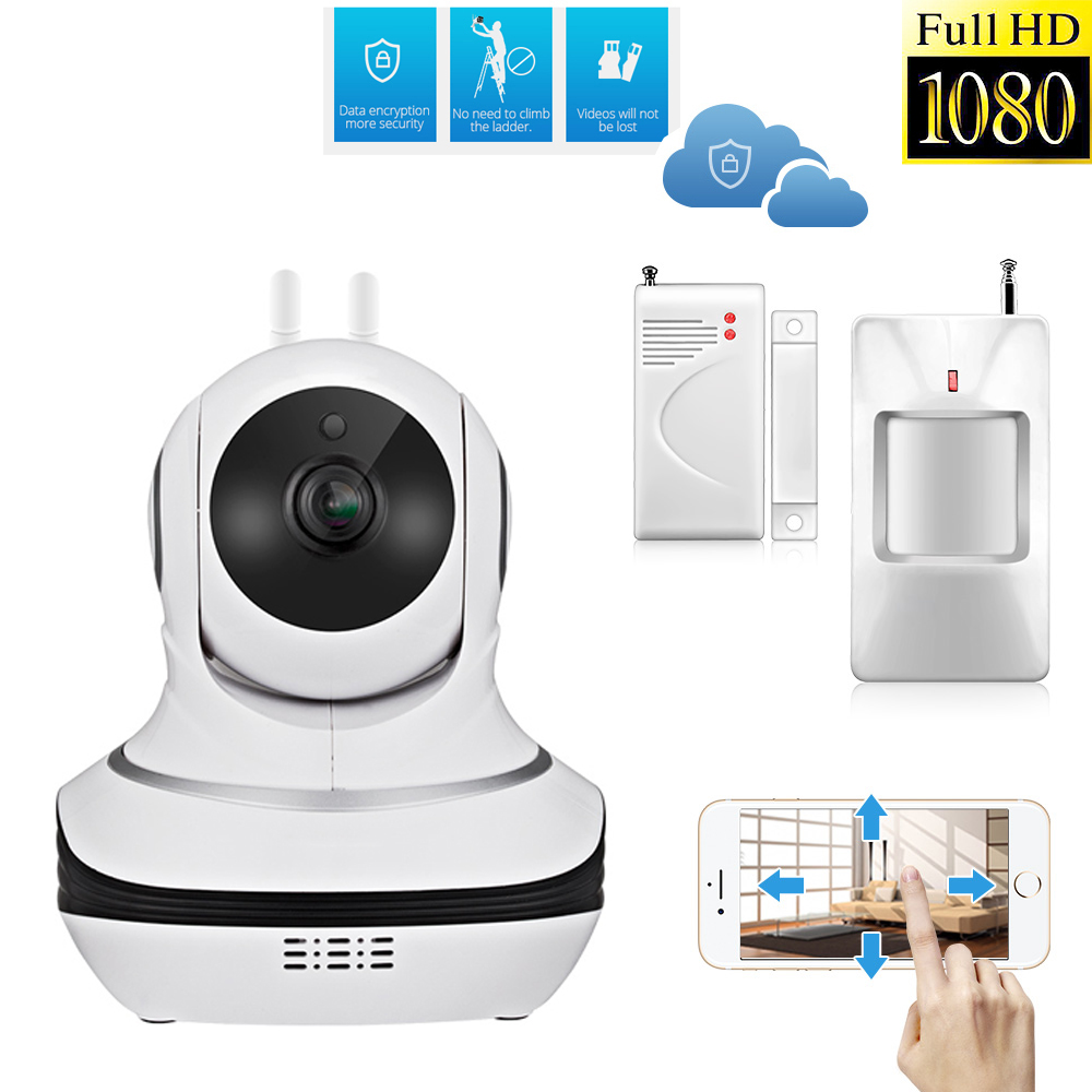 Full 1080P HD IP Camera P2P Cloud Storage font b Wireless b font Door Sensor Motion