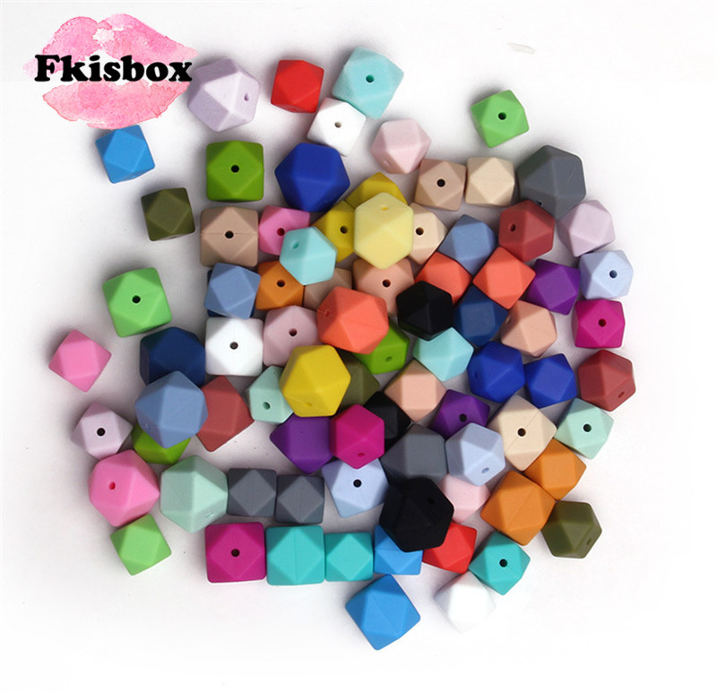 50Pcs Food Silicone Beads Hexagon 17mm Diy Baby Chew Necklace Bpa Free Nursing Jewelry Silicona Bead Teething Infant Toys