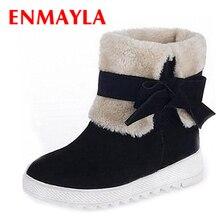 9368356bc6f2 ENMAYLA Fashion Christmas Women Warm Fur Red Snow Boots Winter Flats Cute Bow  Shoes Woman Platform