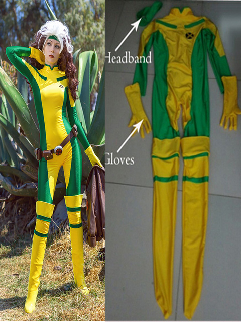 Us 47 9 Rogue Costume X Men Comics Version Zentai Halloween Cosplay Lycra Spandex Catsuit Custom Xmen Rogue Female Women Girls Lady Suit On