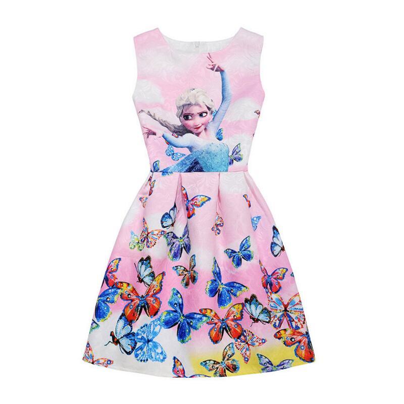 Summer-Girls-Dress-Anna-Elsa-Dress-Party-Vestidos-Teenagers-Butterfly-Print-Princess-Dress-for-Girls-Elza-Baby-Girl-Clothes-5