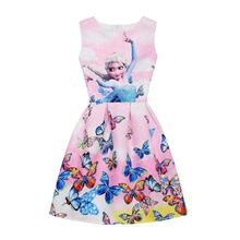 Anna Elsa Butterfly Print Princess Dress