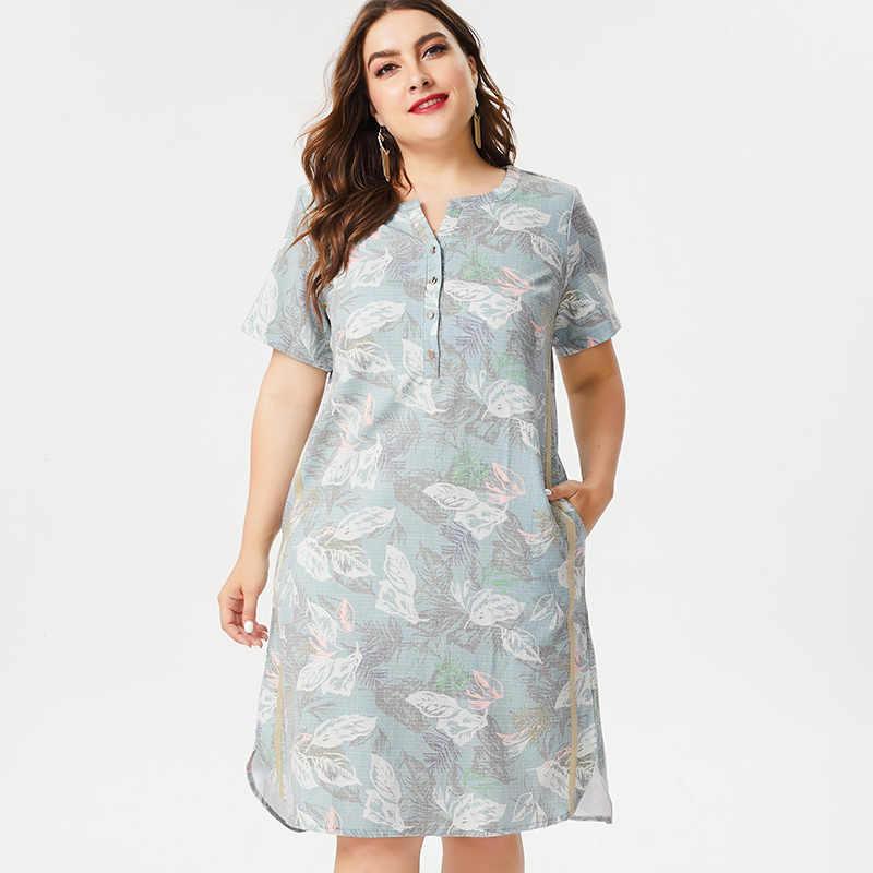 MG 2019 Yaz Artı Boyutu bayan keten midi Gömlek elbise moda bayanlar zarif Baskı çiçekli elbiseler 4xl 5xl 6xl