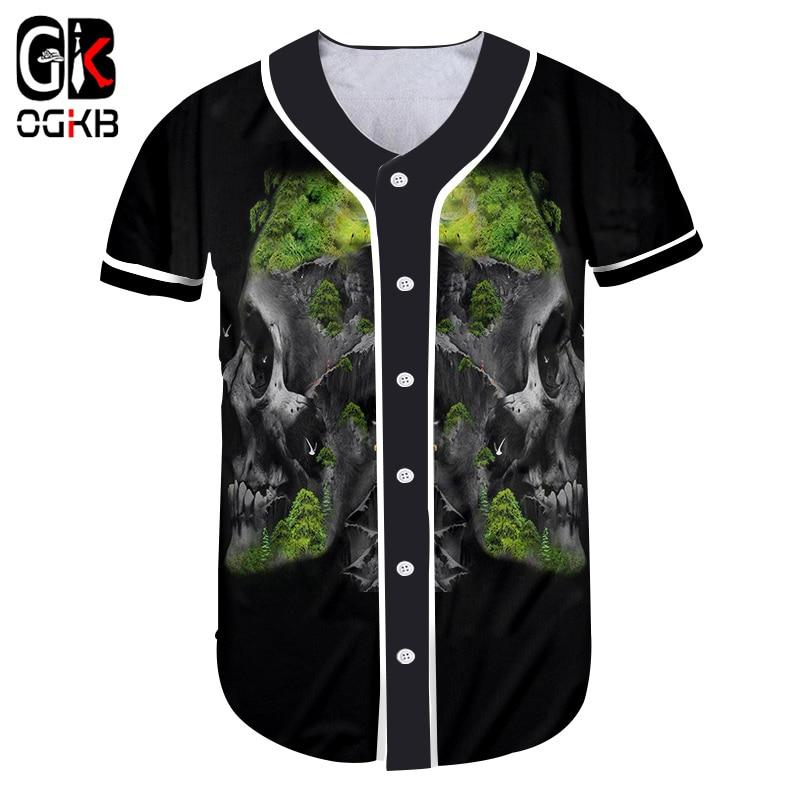 OGKB Baseball T Shirt Women Unisex 3D Baseball T Shirt Printed Grassland Skulls Casual Big Size Tops Tees Lady Baseball T Shirt
