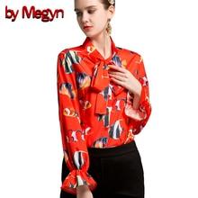 Por Megyn alargamento das mulheres camisas camisa de manga longa de impressão peixe vermelho camisa blusas mulheres plus size 3xl 2018 nova feminino camisas blusas