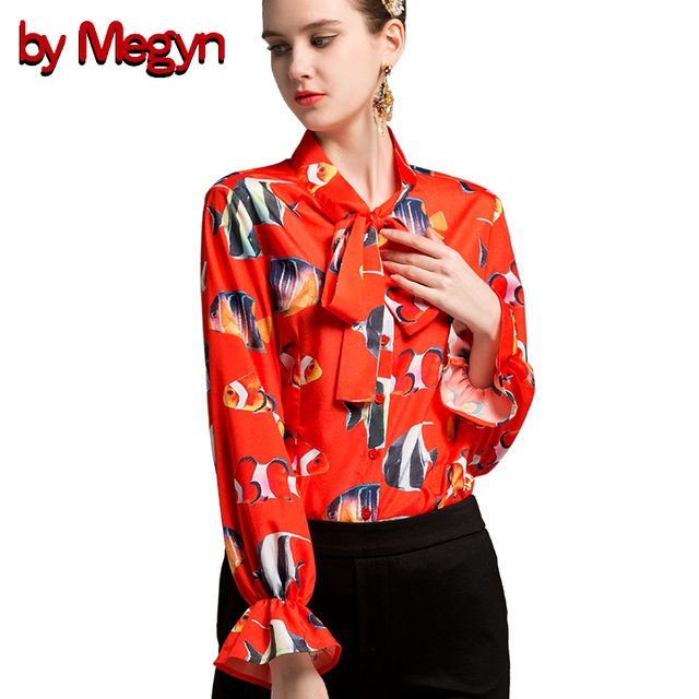 by Megyn women shirts flare long sleeve shirt fish print red shirt women  blouses plus size 3xl 2018 new feminine shirts blusas f9354900fb24