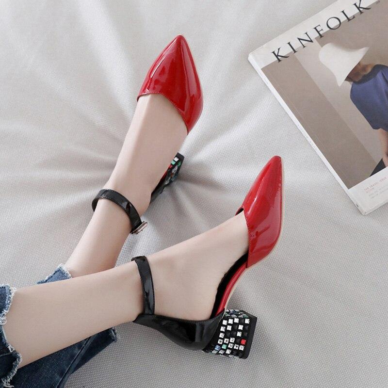 100% Echtem Leder Frauen Schuhe Sexy Damen High Heels Mitte Mit Hohen Absätzen Pointe Schuhe Frauen Pumpen Kuh Leder Quadratische Fersen 5 Cm A761