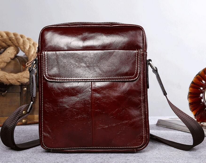 ФОТО 2016 new design luxury quality wax oil genuine leather men mesenger bags,  men casual  genuine leather shoulder  messenger bag