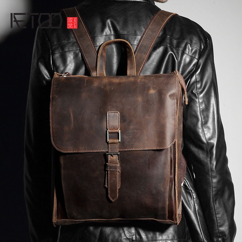 AETOO Leather shoulder bag men first layer leather backpack Japanese and Korean version of retro leisure backpack aetoo new first layer of leather men s shoulder bag leather male package cross section oblique cross bag japanese and korean ver