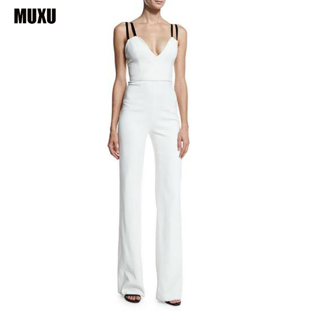 6620beb3908e MUXU summer jumpsuit combishort combinaison femme sexy white jumpsuit europe  and the united states jumpsuits rompers plus size