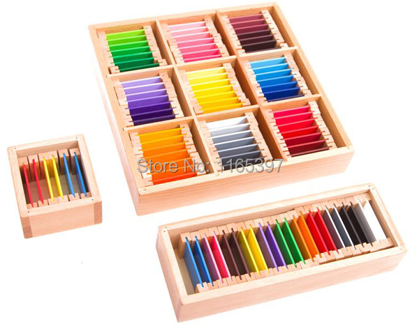 Free ship the whole Set 63 colors children Wooden Montessori color learning sorting task early Educational activity material free ship 1 set of 100pc children kids natural wooden build blocks montessori sensorial early development educational material