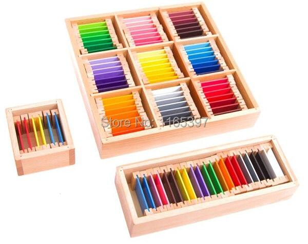 Livraison gratuite l'ensemble 63 couleurs enfants en bois Montessori couleur apprentissage tri tâche début activité éducative matériel