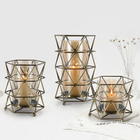 Creative geometric candle holders candelabros de cristal centro de mesa candlestick glass candle holder home decoration