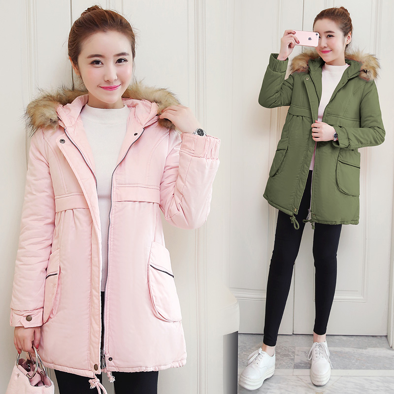 The new Korean version of loose pregnant women cotton dress thick maternity dress in the long section of cotton coat new fashion spell color dot pregnant hooded sweater korean version of the arutmn and winter fleece warm coat of pregnant women