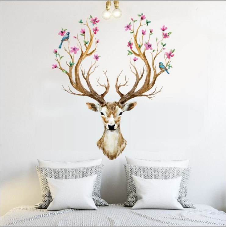 DIY Sika Deer Head Flowers Wall stickers For Living Room Art Vinyl Wall Decals For Kids Baby Home Decor