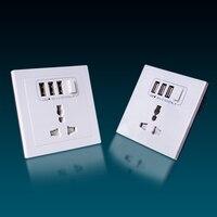 Abalon USB Wall Socket Residential Use 2 1 A White German UK Round Pin 250V Panel