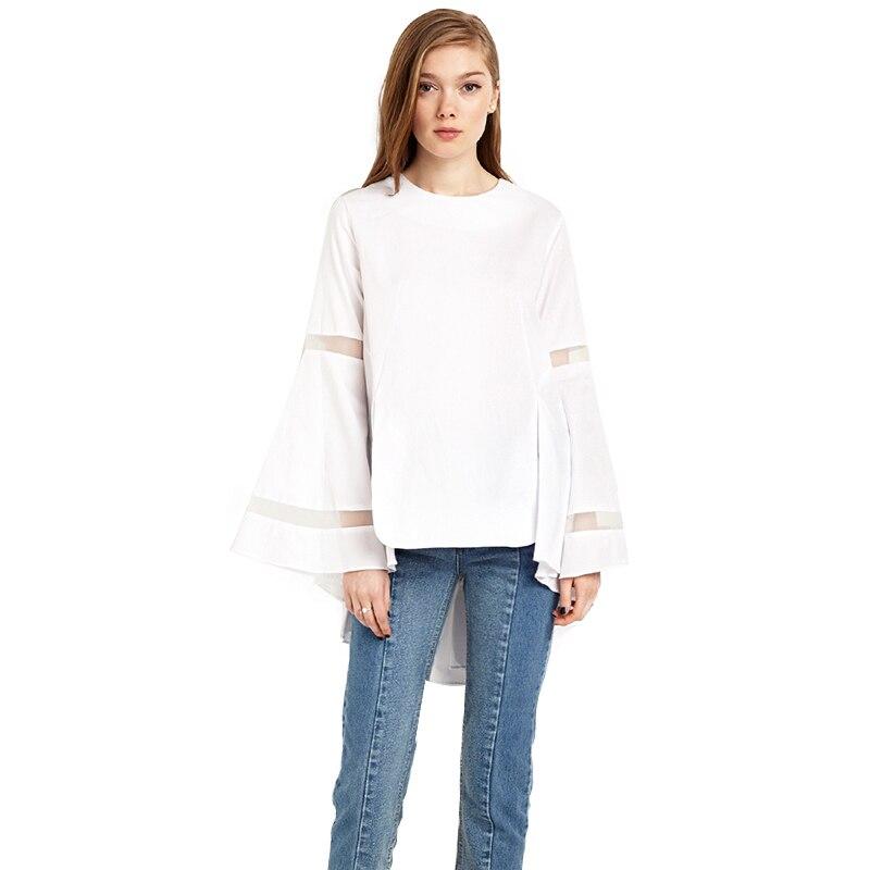 Fashion Women Ruffles Sweet Shirts O neck Long Sleeve White Pullover Tops Casual Loose Female Slim