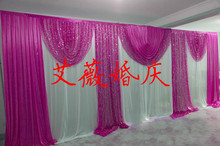 3*6m wedding party ice silk fabric drapery White rose Color with sequin swag stage prop fashion Drape curtain Backdrop