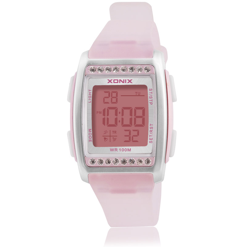 XONIX Fashion Digital Wristwatches Women Rhinestone PU Straps Casual Dress Women s Watch Rose Crystal reloje