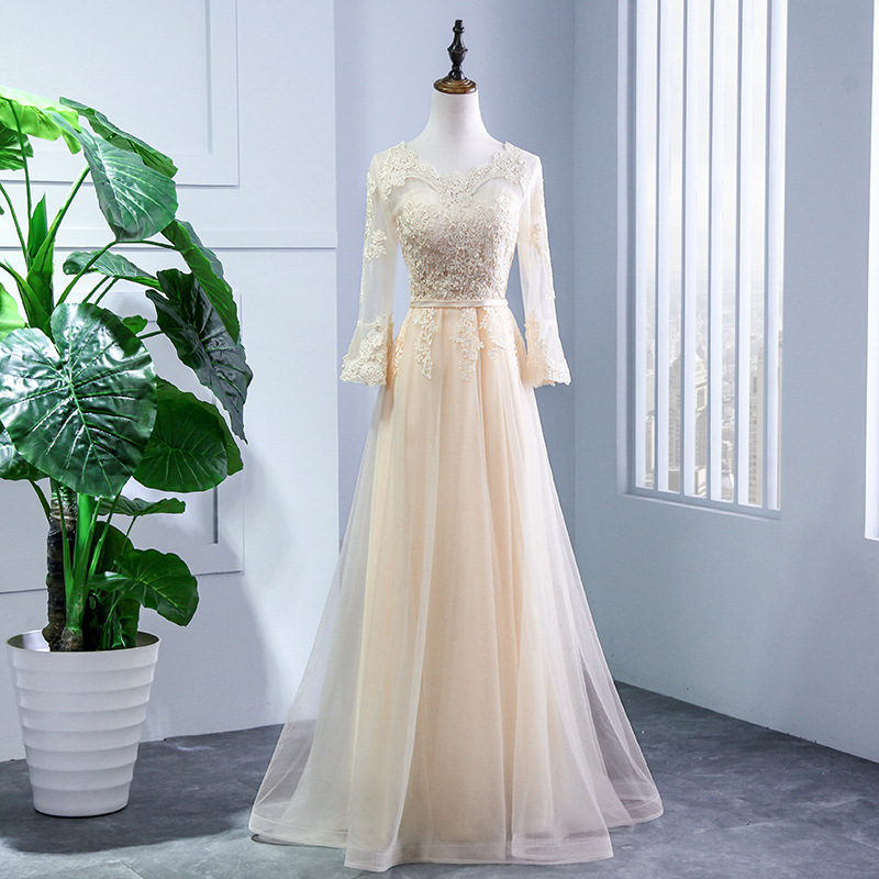 Beauty Lace Champagne   Bridesmaid     Dresses   2019 Long Lace Up Four Length Full Sleeve A line Formal Wedding Party Prom   Dresses