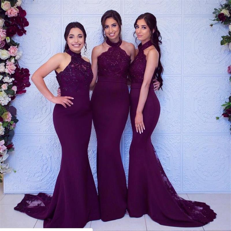 2019 Grape Long   Bridesmaid     Dresses   Sexy Halter Sleeveless Mermaid Wedding Party Guest   Dress   robe demoiselle d'honneur