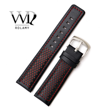 Rolamy 20 22mm Wholesale Black With Red Stitches High Quality Genuine Leather Replacement Watch Band Strap Belt