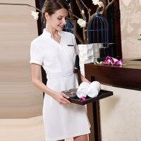 2017 летний дизайн одежда для спа салон красоты Спецодежда больница V шеи короткий рукав униформа медсестры бесплатная доставка