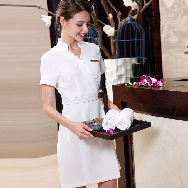 2017 último diseño de verano SPA ropa de salón de belleza uniformes de trabajo Hospital cuello V manga corta enfermera uniforme envío gratis
