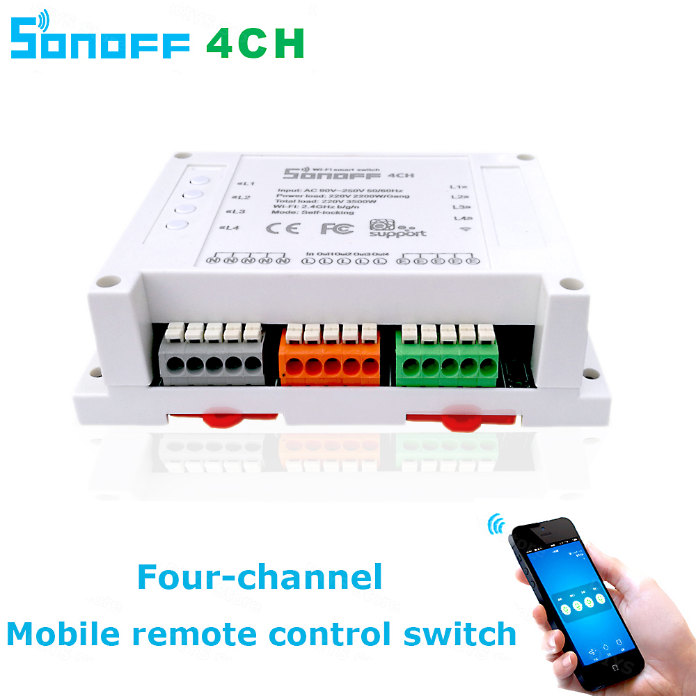 Itead Sonoff Wifi Switch 4CH 4-Gang 4-Way Din Rail Mounting on/off Wifi Remote Control Wireless Switch For Smart Home 10A/2200W sonoff wireless wifi switch universal smart home automation module timer diy wifi remote control switch on off wireless timer