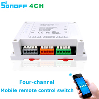 Itead Sonoff Wifi Switch 4CH 4 Gang 4 Way Din Rail Mounting On Off Wifi Remote