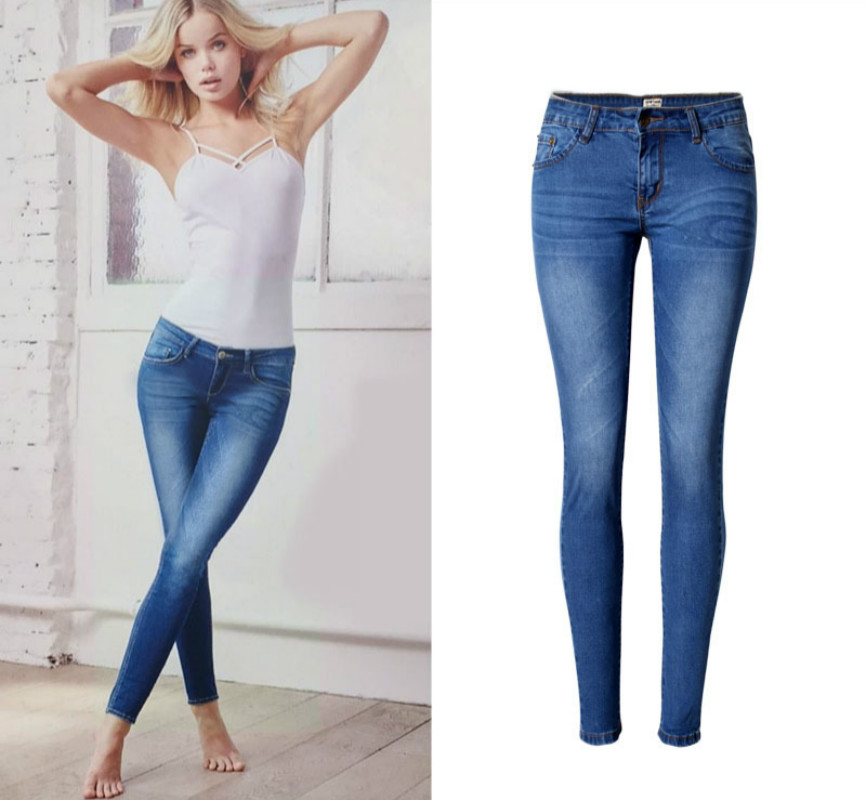 2019 New Low Waist Elasticity Skinny   Jeans   Femme Vintage Bleached Plus Size Push Up   Jean   Women Fashion Cotton Blue Pencil Demin