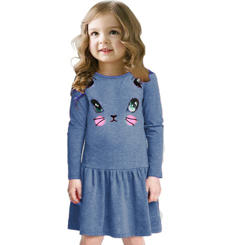 √Long Sleeve Cat Printed Princess Dress kids party dresses for ...