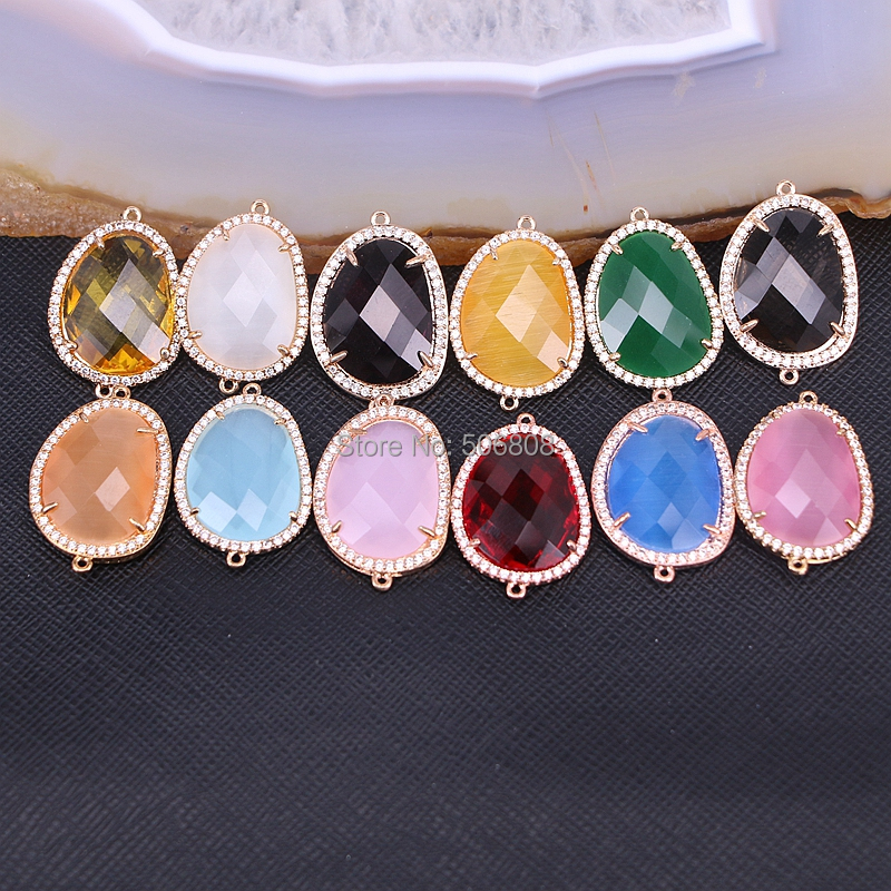 20PCS Zyunz Cutting Faceted Stone Connector Beads Micro Pave CZ Crystal Stone Charm Beads For Jewelry