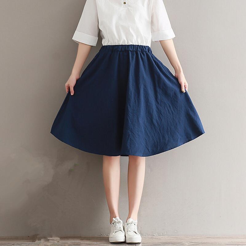 e5600293c 2019 Primavera Verano mujeres falda de lino de algodón Casual falda cintura  alta Falda plisada Mujer cintura elástica de largo faldas para mujer