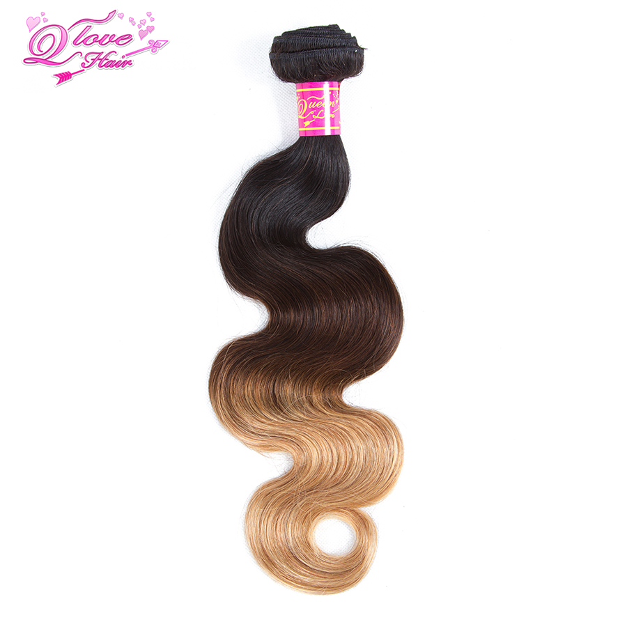 Queen Love Hair Pre-Colored Malaysia Body Wave 4 Bundles With 4x4 Lace Closure 1B/4/27 Ombre Non Remy Human Hair Extension
