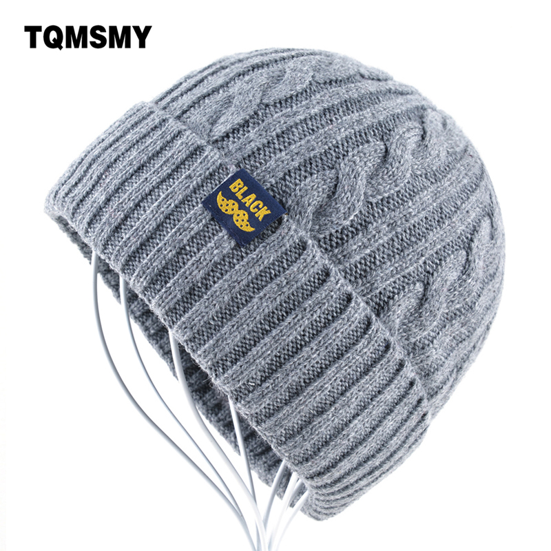 High quality gorro Winter Hats for Men Knitting wool   Beanie   women Casual Cap men's   Beanies   Plus velvet bone Solid color   Skullies