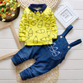 New arrival infant cartoon bottle bib pants set free shipping baby clothes set over all pant+ long sleeve T shirt
