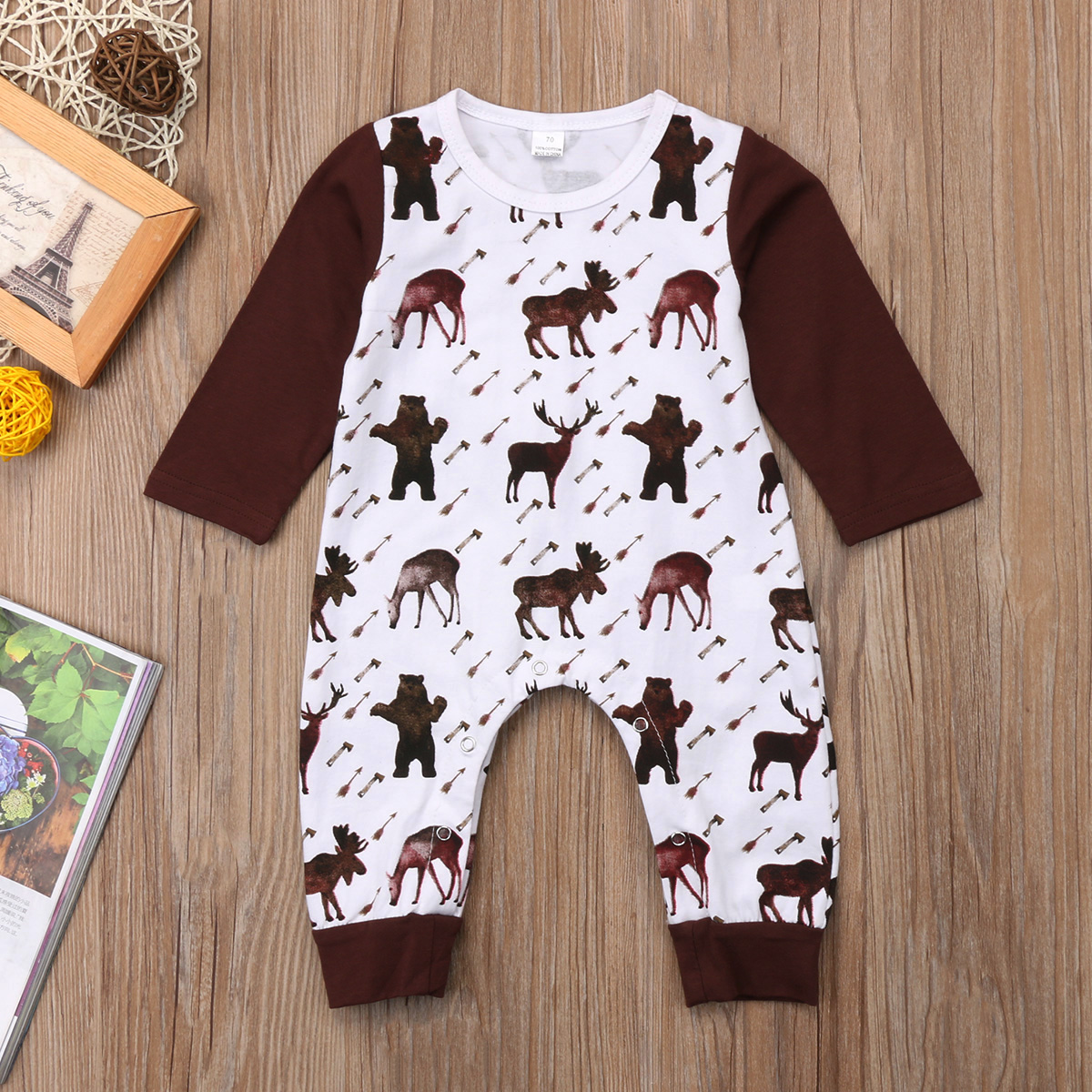 Cartoon Horse Newborn Infant Kids Baby Girl Boy Outfits Romper Jumpsuit Long Sleeve Cotton Xmas Clothes