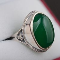 S925 wholesale natural green chalcedony handmade sterling silver ring style atmosphere