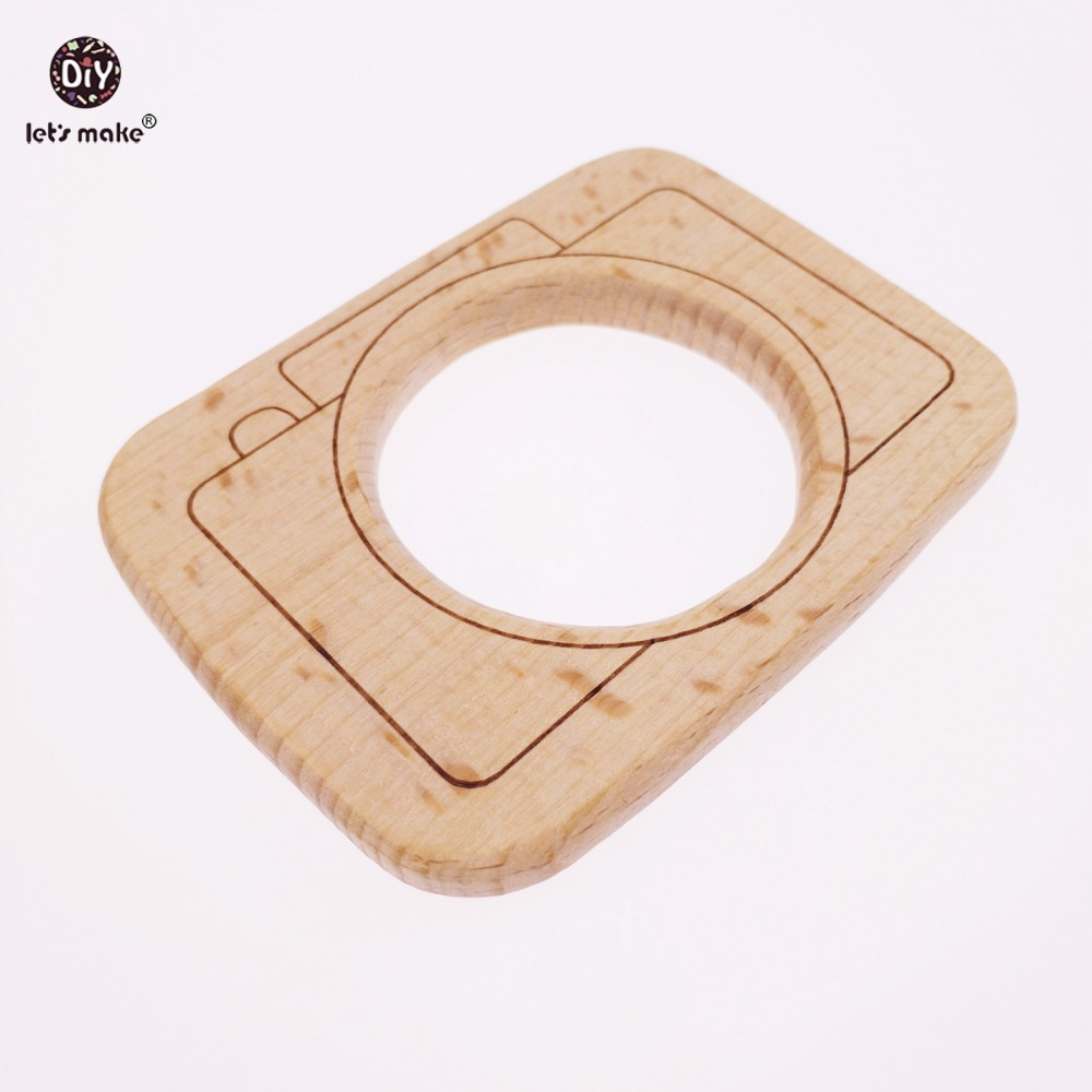 Lets make Big Size Beech Wooden Camera 10PC  Wood Teether Can  Non-tox Organic DIY Montessori Toys Original Wood Baby Teether