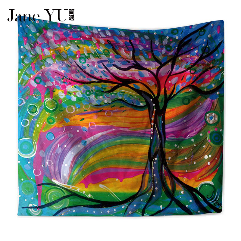 JaneYU Oil Painting Tree Tapestry Mandala Floral Wall Art Carpet Life Sheet