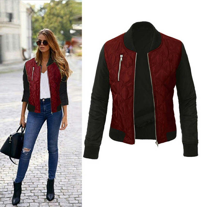 Autumn Winter   Jackets   Women's Bomber   Jacket   Spliced Casual Coats Cool   Basic     Jacket   Padded Zipper Chaquetas Outerwear Coat