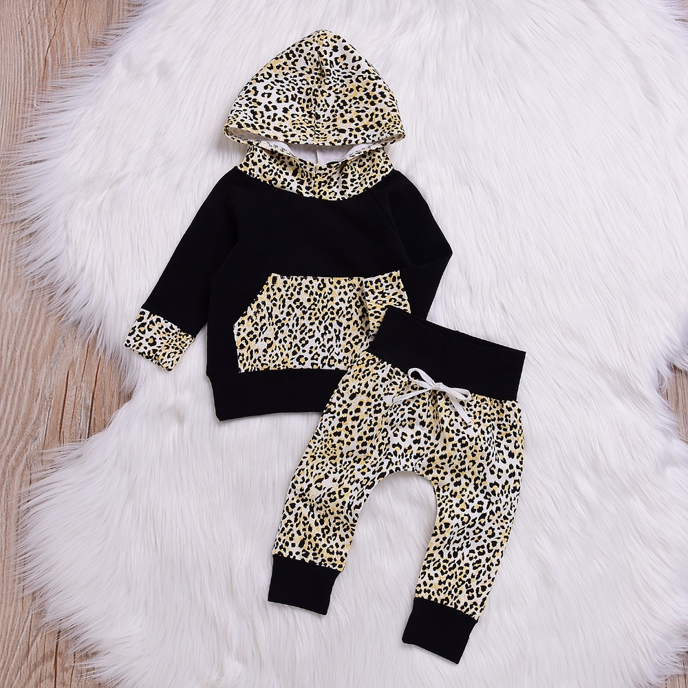 Hot Baby Autumn New baby boy Clothes Children Baby Girls Long Sleeve Hooded Pocket Tops Leopard Pants Outfit ship from USA