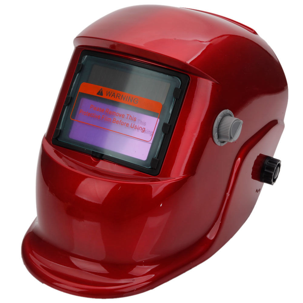 Auto Darkening Welding Helmet Arc Tig Mig Grinding Welders Mask Solar Power Red km 1600 welding mask arc tig mig weld solar auto darkening helmet