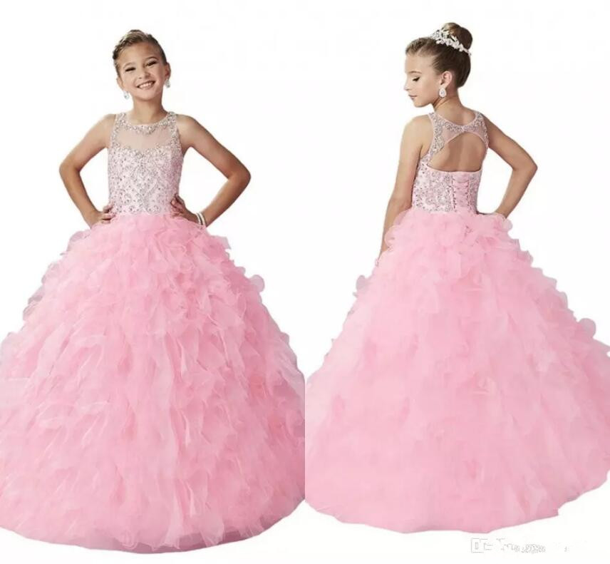 New Arrival Long Pink Girls Pageant Gown Open Back Illusion Neck Sparkly Beading Ruffles Corset 2018 Flower Girls Dresses