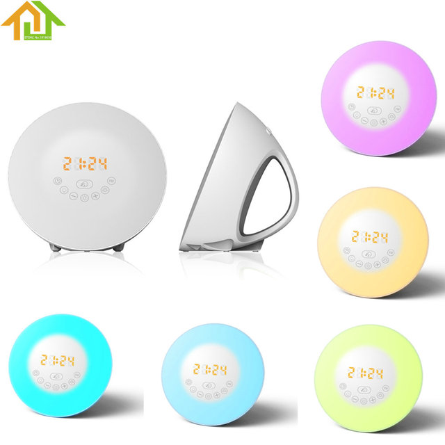 Wake Up LED Light Alarm Clock With Sunrise Simulation FM Radio Lamp Table Night Gift for Kids