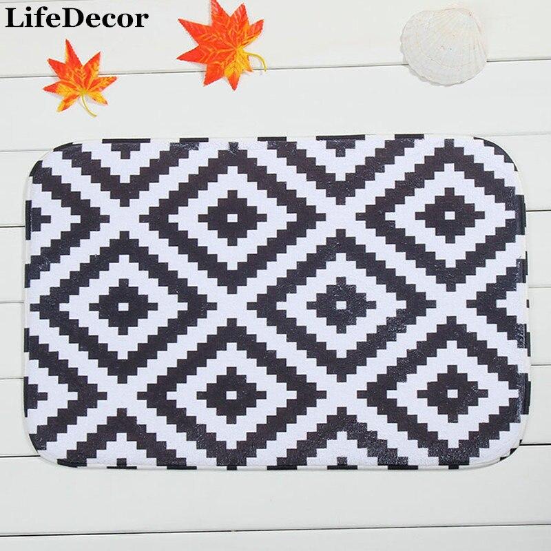 New 40x60cm Geometric patterns Bath Mat Non-slip Mats Quality coral velvet Rug Shower Carpet for Bathroom Kitchen